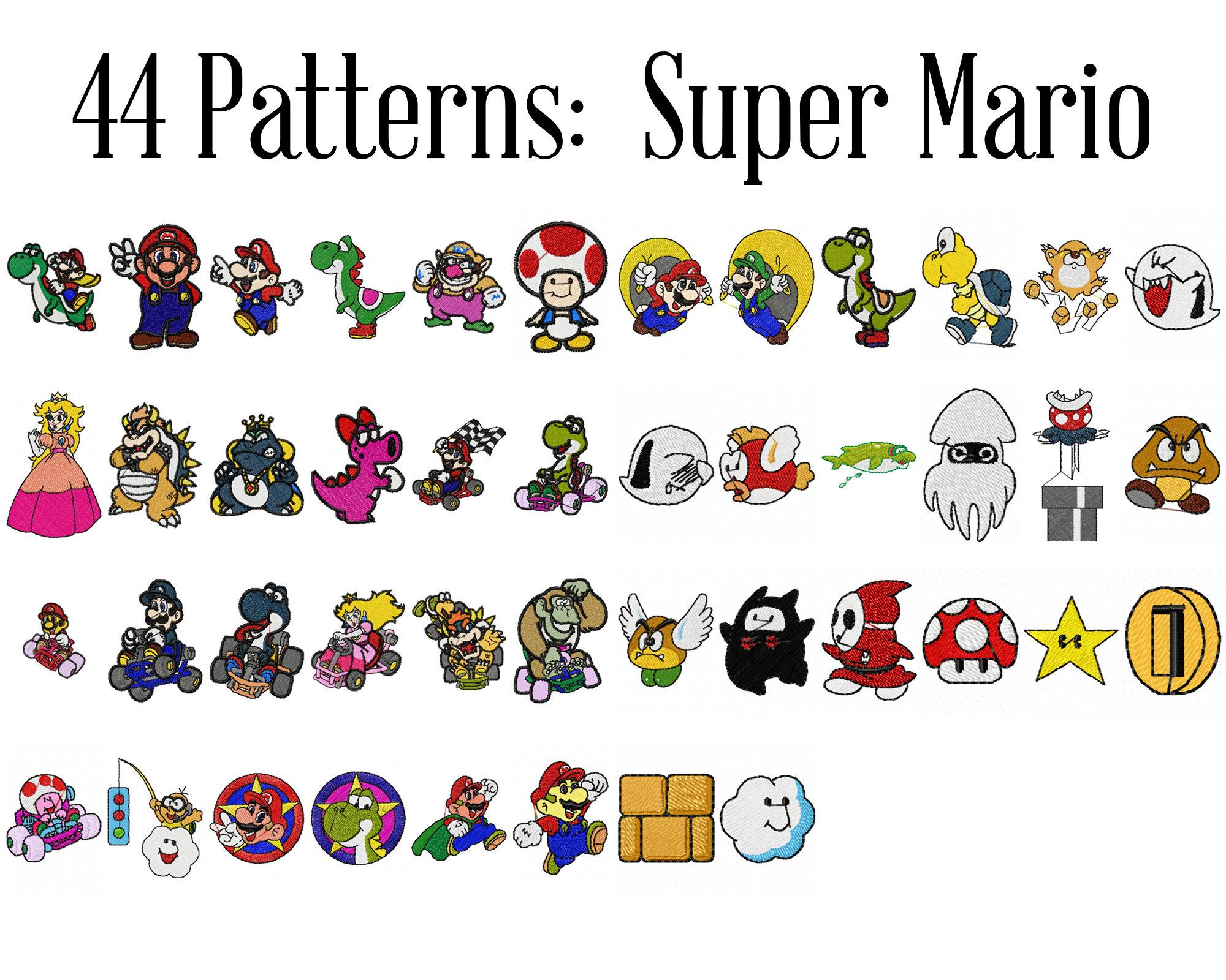 Super Mario Machine Embroidery Patterns Nintendo Brothers Luigi Princess Peach Bowser Patch Yoshi