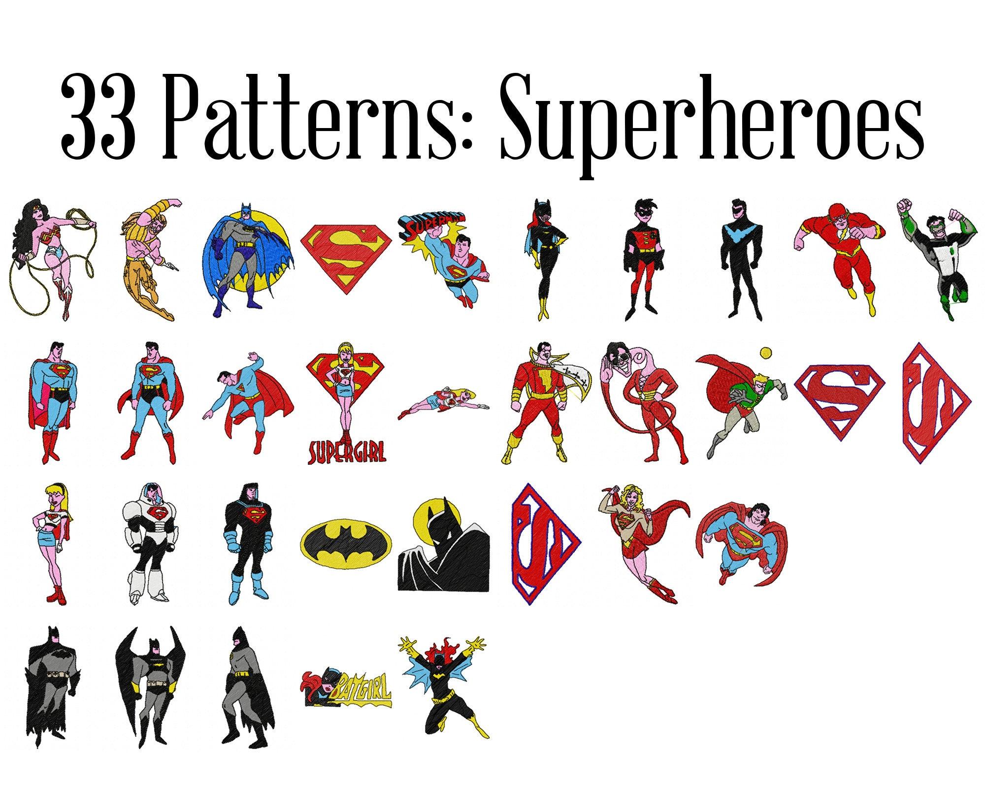 Superhéroe máquina patrones de bordado bordado de Batman | Etsy
