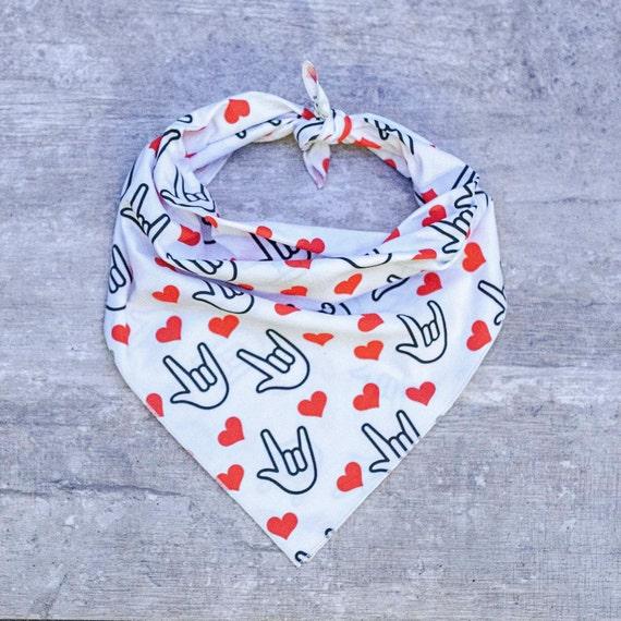 ASL ILY with Red Hearts Dog Bandana, Valentine's Day Dog Bandana