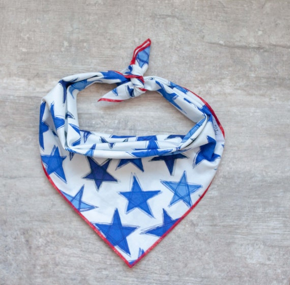 Blue Star Bandana, Patriotic Dog Bandana, American Dog Bandana