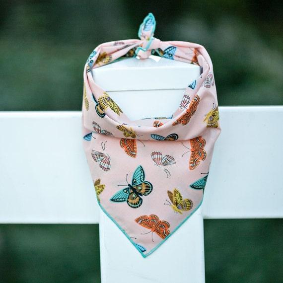 Pink Mariposa Bandana, Tie on Dog Bandana, Butterfly Dog Bandana