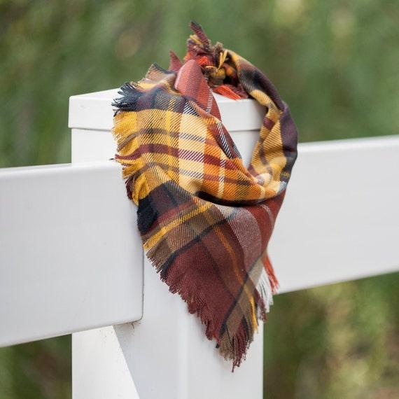 The Maple Bandana, Autumn Frayed Dog Bandana, Fall Frayed Dog Bandana