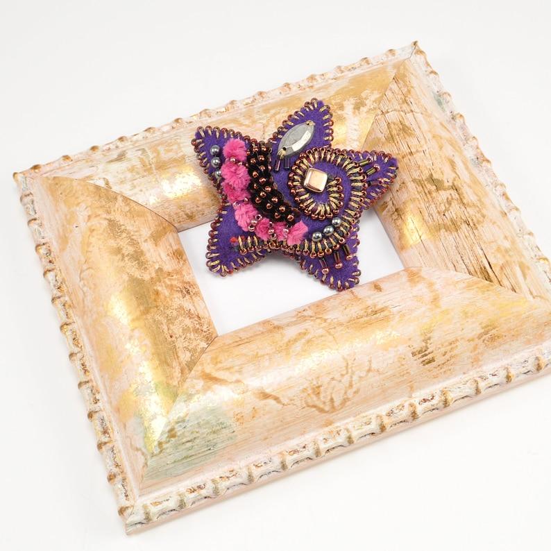 statement brooch soft sculp Ture Brooch No Purple star shaped brooch 6 embroidered brooch fluffy brooch colorful brooch felt brooch