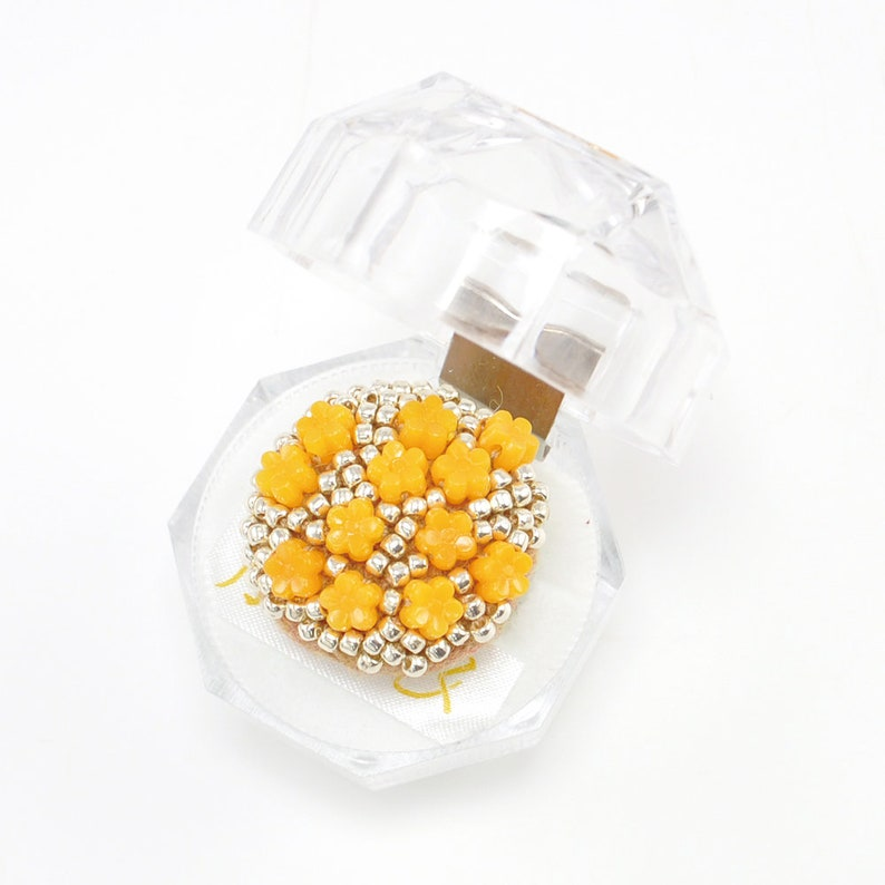 one off ring orange and silver ring flower ring gorgeous ring Statement and Sparkle Beaded circle ring Silver One of a kind ring