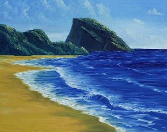 "Sea Scape Oil Painting ""Cliff by the Sea"""