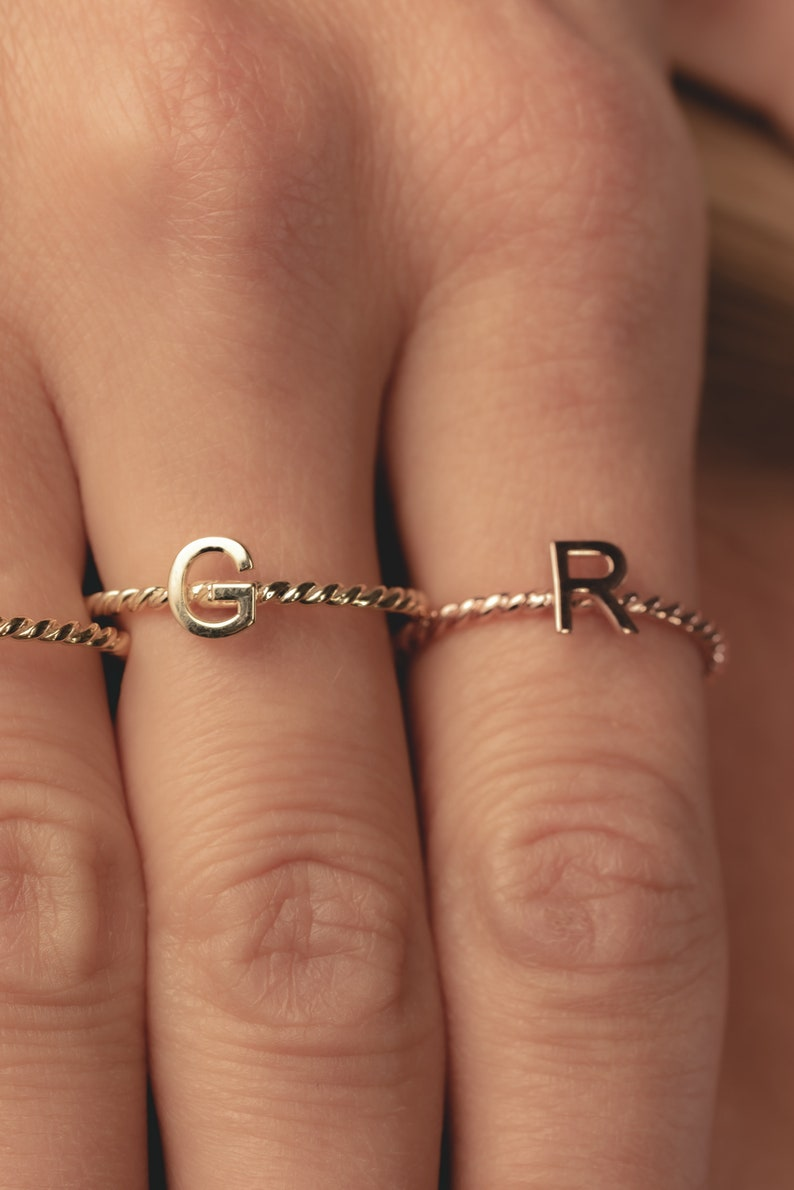 Dainty Initial Ring Sterling Silver Letter Ring Custom Gift Bridesmaid Gift Custom Letter Ring Personalized Ring Christmas gift