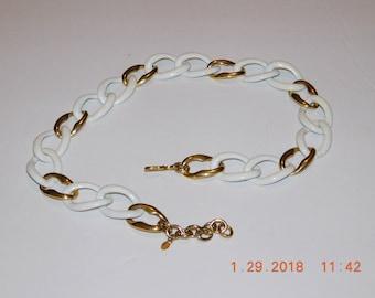 Vintage Monet Gold Tone and White Enamel Necklace