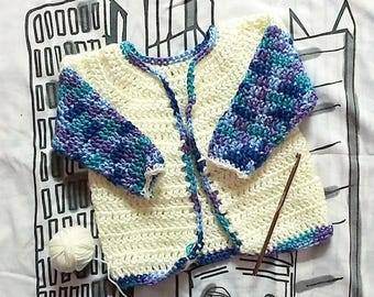 Pull cardigan bébé au crochet pour les 6-12 mois | Fait sur commande | Couleurs personnalisées