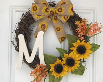 Sunflower wreath with initial