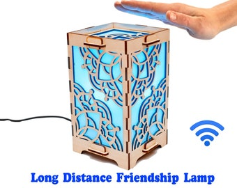 Distance touch lamp Distance girlfriend birthday gift Long distance friendship lamp and daughter Cactus decor Bedside lamp Home light decor