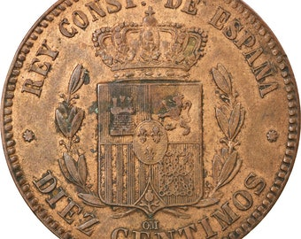 Spain 1879 10 Centimos KM # 675 King Alfonso XII Europe Collector Coin Numiamatic Coin Collector World Coin Young Starter