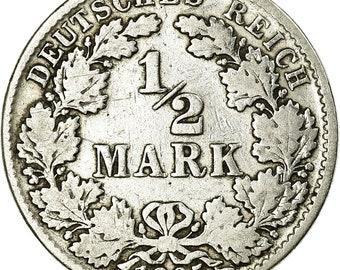 German  Empire Germany silver coin 1//2 mark,1905 VF