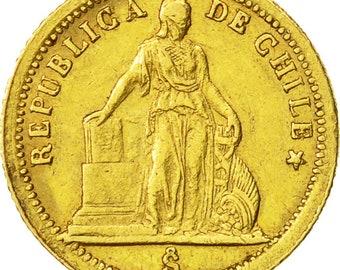 coin chile peso 1861 santiago ef(40-45) gold km133