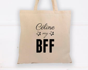 """Tote Bag, bag customizable """"name"""" my BFF (Best Friend Forever)"""