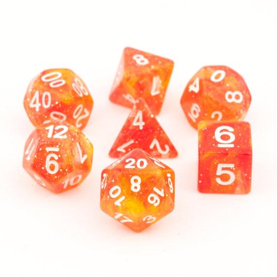 Celestia Dice - RPG polyhedral glitter dice set - 7 piece d&d dice set