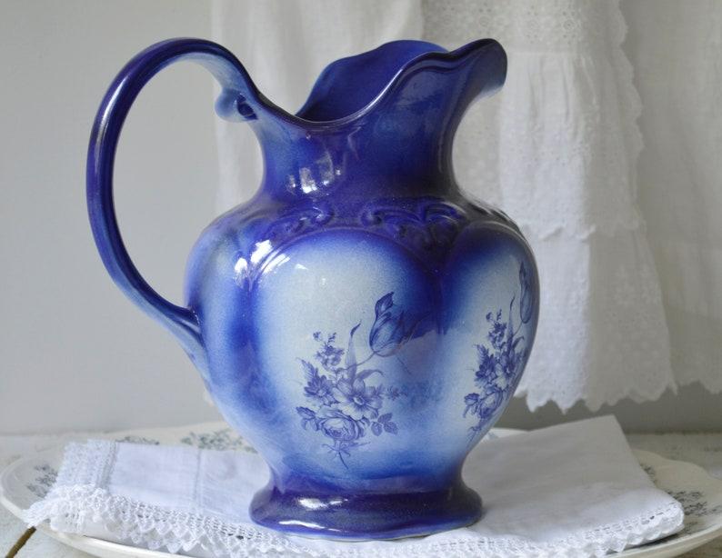 Antique Victorian Pottery Jug Blue Jug Basin Jug Water Jug Ornate Jug Bathroom Jug Farmhouse Jug Pottery Jug Wildflower Vas