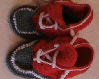Crocheted Red and Gray All-Star slippers