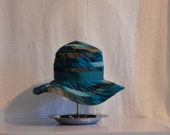 VTG Blue Stripe 70s Floppy Hat