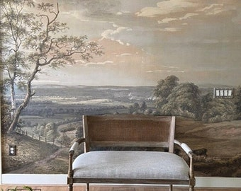 Rural painting wall mural, Removable or regular wallpaper, Scene wallpaper, Landscape vintage, Wall decor, Wall art, Scenic painting #169
