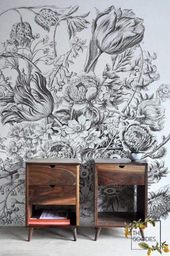 Croquis Dessin Papier Peint Floral Art De Mur Floral Noir Et Etsy