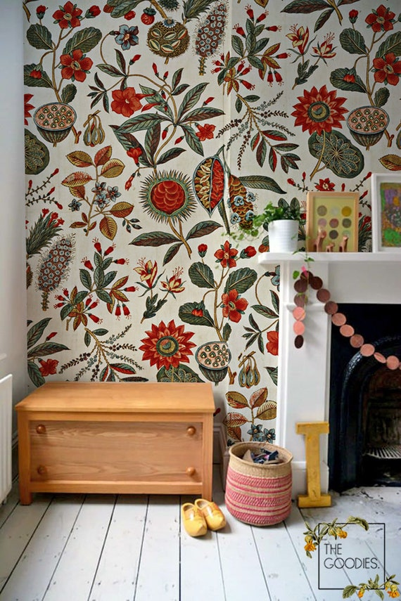 Autumn Memories Removable Wallpaper Red Flower Wall Mural Etsy
