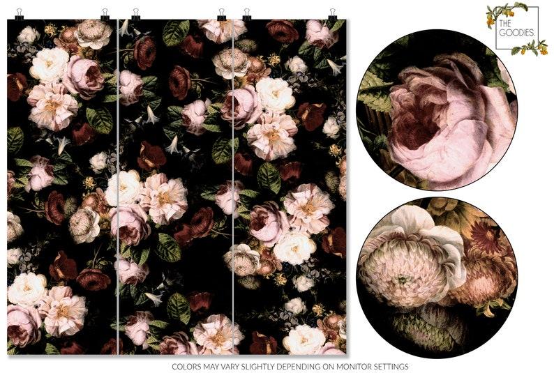 Vintage floral wallpapers Large floral print Big flowers wall mural #89 Dark blossom wallpaper