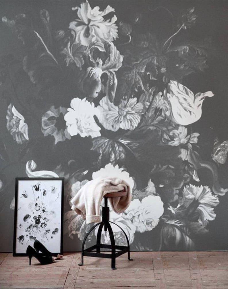 Gray Blossom Mural Vintage Floral Wallpaper Vintage Etsy