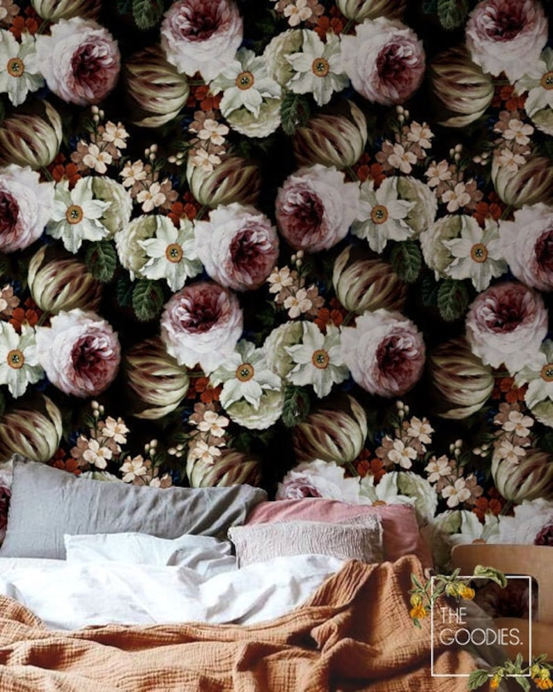 Vintage Flowers Removable Wallpaper Traditional And Vinyl Etsy