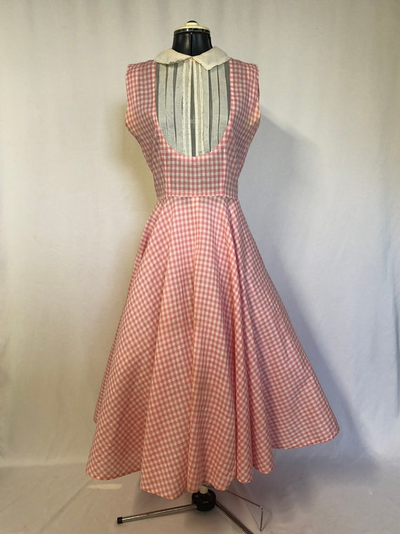1950's Pink and White Gingham dress