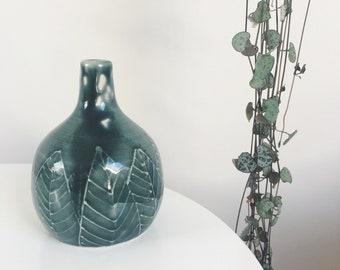 SECOND - Teal leaf design bud vase