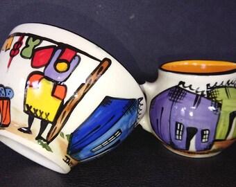 African fair trade hand painted folk art bowl and jug by nobunto ceramics.
