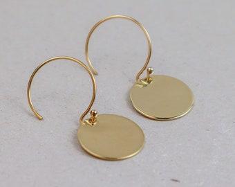 e7b08904988e62 Mini Disc hoop Earrings, Gold Coin Earrings, Celestial Earrings, Gold Filled