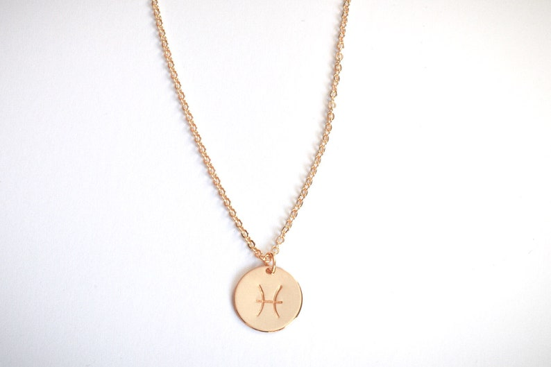 Mother gift from daughter Zodiac Sign Necklace personalized Disc Necklace in Gold filled Custom Zodiac Sign