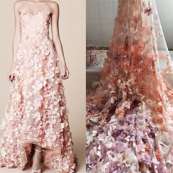 3D Chiffon Flower Embroidery Lace Fabric DIY Gowns Bridal Dress 1 Yard