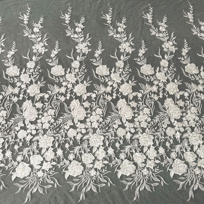 Delicate Embroider Flower lace Fabric with Sequined Detailing Floral  Gauze for Bridal Gown Wedding Dress 55 inches Width Sold by yard