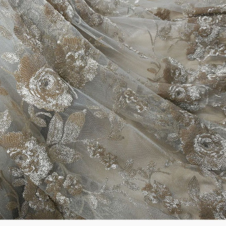 Bling Golden Sequins lace Mesh Blossom Flower Fall Lace Mesh Gauze for Wedding Gown Evening Dresses 51 inches Width Sold by yard