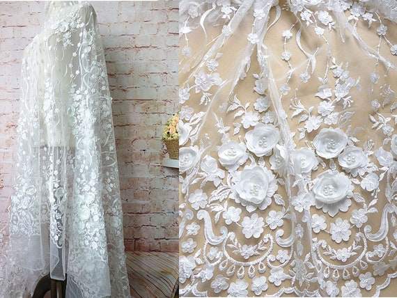 Beaded Lace Mesh Pearl Lace Fabric with Gold Powder Details Beading Soft Lace for Evening Gown Prom Dress 59 inches Width