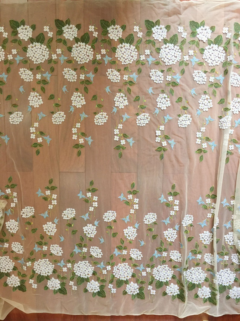 Delicate Fine Embroidery Blossom Floral lace Fabric Drape Lace Tulle Flower Gauze for Party Gown Prom Dress 51 inches Width Sold by yard