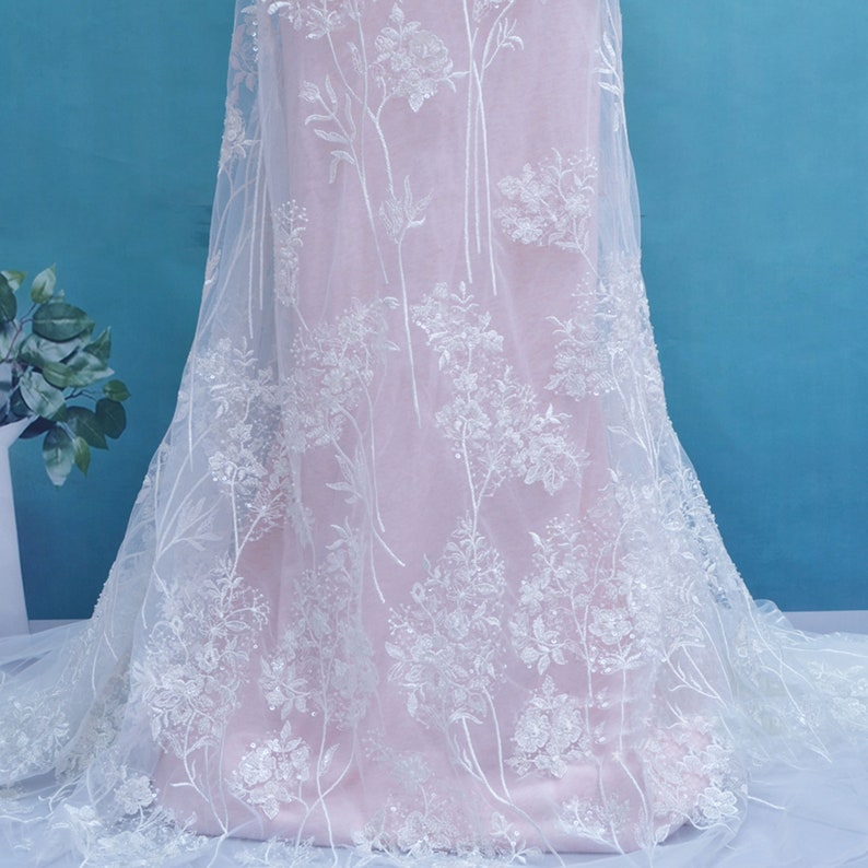 Off-White Wedding Dress Lace Delicate Lace Fabric Beaded Sequined Fabrics Embroidery Blossom Lace 51 inches Width   Sold by 1 Yard