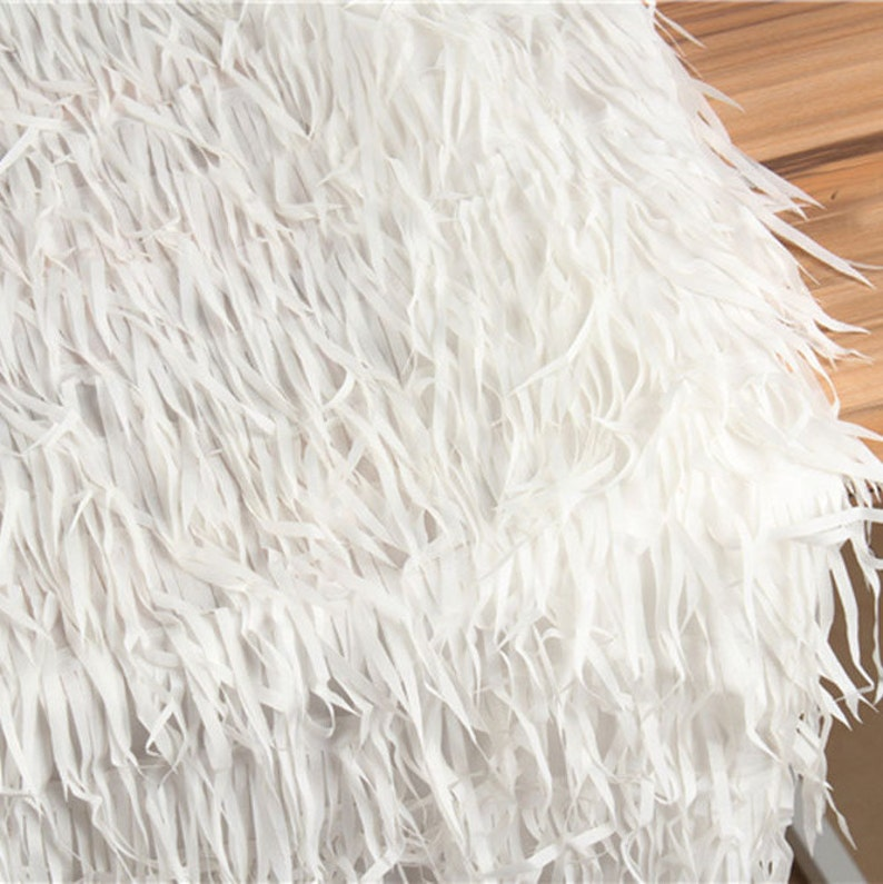 Stunning Tassels lace White Strip Fall Lace Like Feathers DIY Design for Dress Gown Craft Projects  51 inches Width Sold by 1 meter