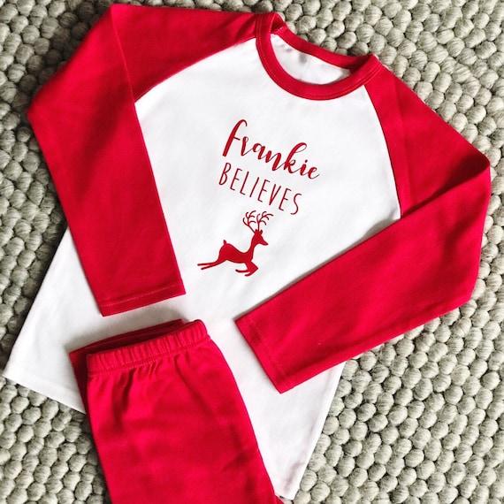Personalised Christmas Pyjamas Believe Name Colours  ac5a95b3c