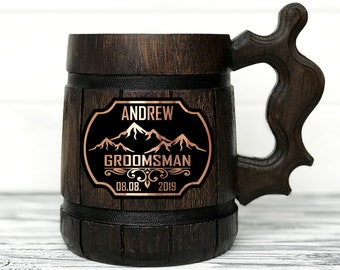 Groomsmen Mug, Personalized Groomsmen Gift, Personalized Gift, Personalized Best Man Gift, Wooden Beer Mug, Grooms Gift. Groomsman Gift #173