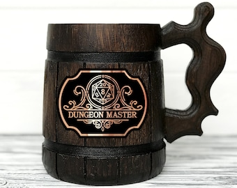 Dungeon Master Personalized Mug. Dungeon and Dragons Mug Custom Beer Steins D&D Mug Gamer Dungeon Master Wooden Beer Tankard Gamer Gift #145