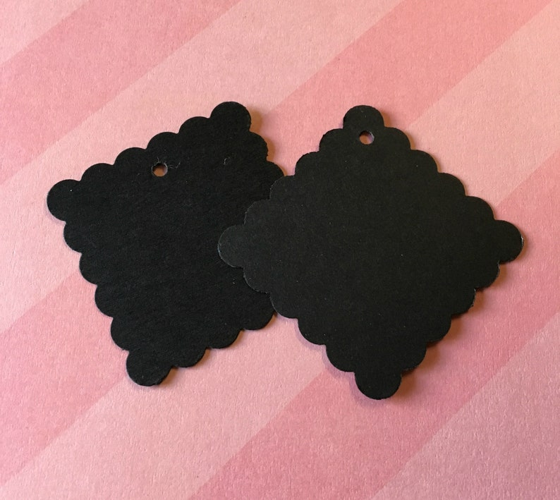 Scalloped Square Black Tags Etsy seller supplies - blank tags 1.75 square with bakers twine ties DIY product labels 50