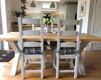 Bespoke X-framed Modern Farmhouse Dining  table finished in Farrow&Ball