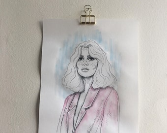 Fashion Illustration A4, Watercolour on top of print