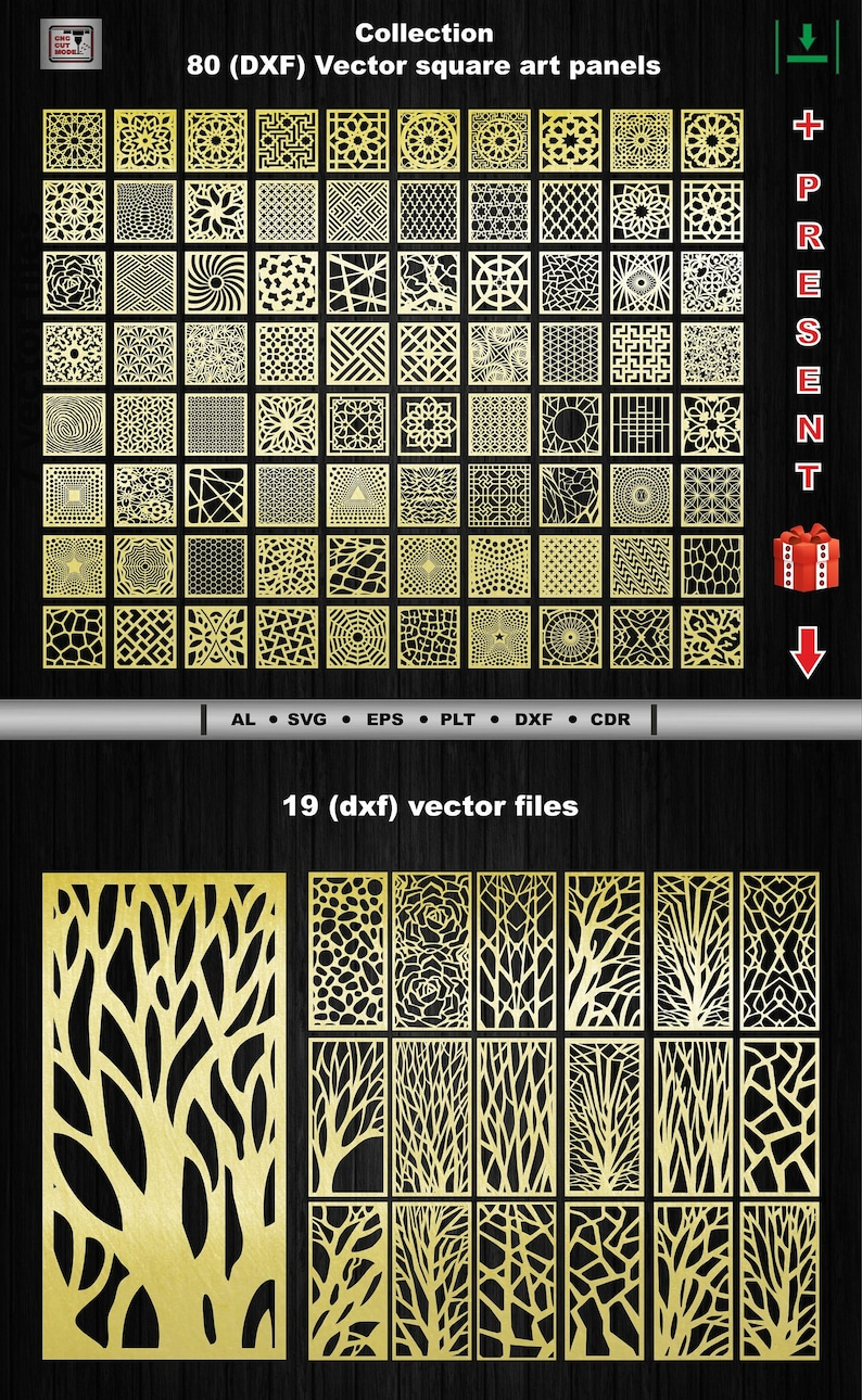 80 Decorative square vector art panels (Dxf AI Svg Eps Dwg ) for (CNC)  laser and plasma cutting Geometric Pattern Panel Interior partitions