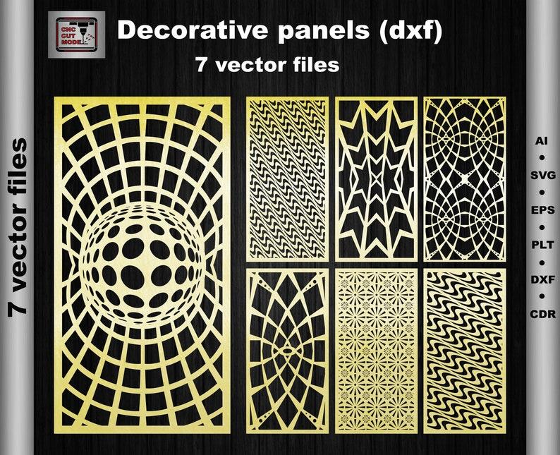 7 Vector Geometric Pattern Panel (Dxf Ai Svg Eps) Decorative panels Room  divider Inter room screen Plasma cut Interior partitions laser cut