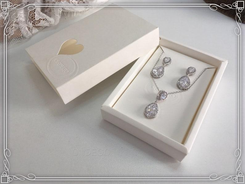 Bridal Jewelry Set Jewelry silver rhinestones Wedding jewelry rosegold drop drop shape