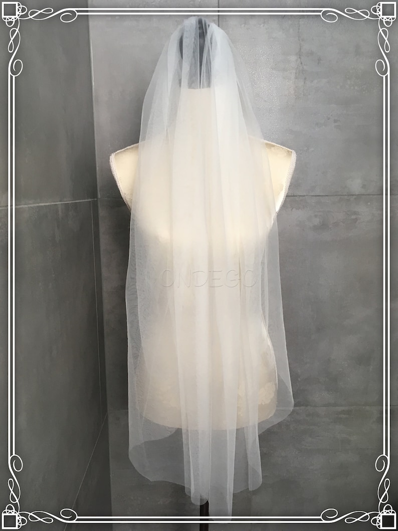 Bridal Veil Wedding Bride Ivory Elfebein white 1lagig Plain